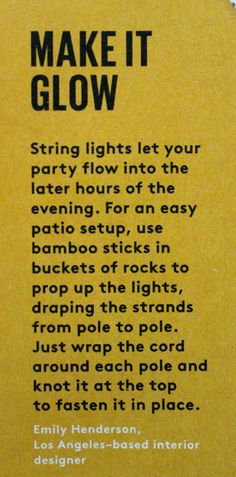 patio lights with bamboo sticks and buckets