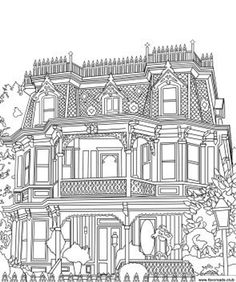 Castle Coloring Page, House Colouring Pages, Coloring Book Pages, Detailed Coloring Pages, Coloring Sheets For Kids, Printable Adult Coloring Pages, House Drawing, Ink Illustrations, Art Club