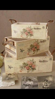 23 Clever DIY Christmas Decoration Ideas By Crafty Panda Decoupage Vintage, Decoupage Wood, Decoupage Furniture, Shabby Chic Furniture, Diy Crafts To Sell, Home Crafts, Deco Retro, Box Roses, Shabby Chic Crafts
