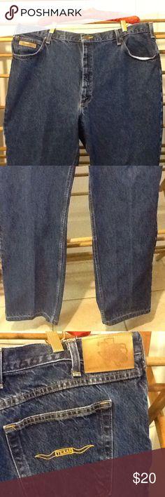 "Men's Made in USA Texas Denim Jeans In great condition. 5 Pocket design. Straight leg. Reg rise. Cotton. Prewashed. No size label. 40"" waist, 48"" hips, 31"" inseam. Texas Jeans Straight"