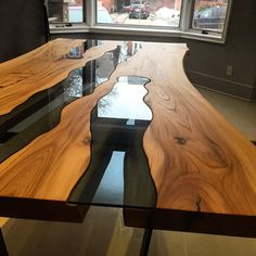Can't get enough of the grains that these American elm slabs brought to our @gregklassenfurniture inspired River Table! We used a @rubiomonocoatusa pure on this table! Can't wait to build another one! Even though this one had its challenges, the end result was totally worth it!