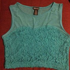Crop top Lace and mesh crop top. Used. Turquoise Wet Seal Tops Crop Tops