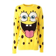 MOSCHINO Spongebob logo wool pull ($284) ❤ liked on Polyvore featuring tops, sweaters, shirts, long sleeves, jumpers, unique, long-sleeve shirt, long sleeve shirts, yellow jumper and yellow top