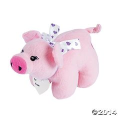 Plush Pigs with Ribbons - 12 Pack
