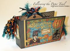 Pocket Fold mini Album for the Wizard House - G45 Steampunk Spells - by Laura Denison Designs. Love the Steampunk spells collection! (image 2 of 2)