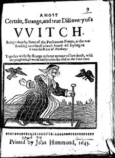 John Hammond pamphlet issued 1643. The height of European witch trials were between 1560 and 1630. In England and Wales there were 228 recorded execution; the real number was approx. 300-1,000. Other pamphlets include Reginald Scot The Discoverie of Witchcraft.