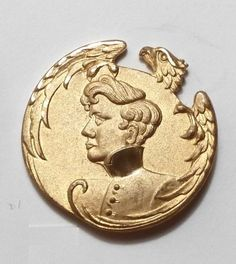 """Lot # : 369 - Lovely Border on Gilded and Chased L'Eaglet 1""""  Lovely Border on Gilded and Chased L'Eaglet 1"""" This is a rendition of Sarah Bernhardt as Napolean. Really sparkles with the cuts"""