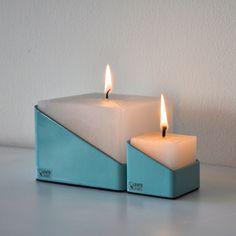 TUBE candle 50x50 by Lente label #candle #lentelabel #light #metal #metaal #parraffine #turquoise #kaars #dutchdesign #design #dutch