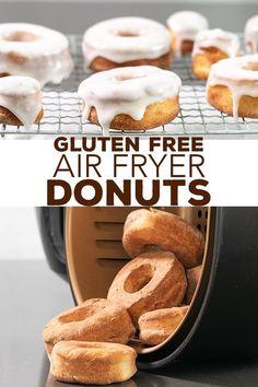 Gluten Free Doughnuts, Gluten Free Sweets, Gluten Free Cooking, Gluten Free Recipes, Real Food Recipes, Snack Recipes, Dessert Recipes, Air Fryer Doughnut Recipe, Healthy Eats