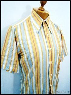 Vintage 1970s 70s Awesome Striped Indie Pattern Disco Poly Shirt XL | eBay