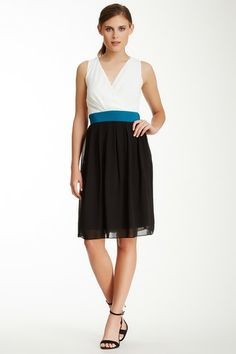 SL Fashions Tritone Chiffon Surplice Dress by SL Fashions on @HauteLook  The cut and color of this dress is nice.