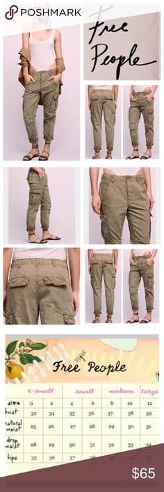"Free People Wild Nothing Rugged Pants.  NWT. Free People Moss (Olive) Wild Nothing Rugged Pants, 100% cotton, machine washable, 31"" waist, 10"" front rise, 14"" back rise, 28.5"" inseam, 12"" leg opening all around, easy and lightweight rugged cotton pants featuring cargo pockets and a button fly, two front slash pockets, two back pockets, belt loops, style with a jogger fit, two side cargo pockets, fading, measurements are approx.  Truest color is fourth pic frame.  NO TRADES Free People Pants"