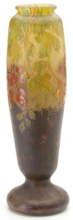 Daum Nancy Glass; Cameo, Vase, Rosehips & Leaves, 20 inch.daum nancy  Year: 1895 - 1925