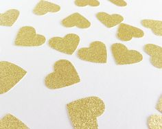 25 Gold Glitter Heart Punch Die Cuts 1 1/8 inch - Embellishment, cards, scrapbook, table decoration, confetti #design #gifts