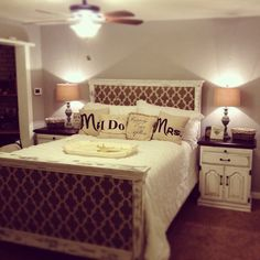 DIY headboard and refinished bed set! This is my sister Heidi's room!! :)