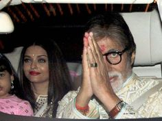 Amitabh Bachchan with actress Aishwarya Rai arrives to attend Diwali party at his residence