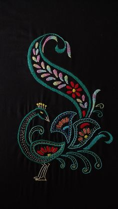 Avon Creative Needlecraft First Prize at the County Fair Crewel Embroidery Pictures Kit - Embroidery Design Guide Hand Embroidery Videos, Embroidery Flowers Pattern, Embroidery Works, Hand Embroidery Stitches, Crewel Embroidery, Peacock Embroidery Designs, Kutch Work Designs, Bordado Floral, Mandala