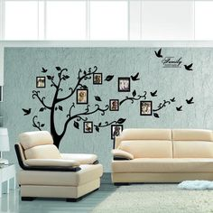 Immense Photo Noir Photo Frame Memory Vine Tree Branch amovible Decor Wall Sticker Decal Mural 210cm(W)*170cm(H): Amazon.fr: Cuisine & Maison