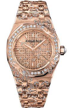 Audemars Piguet Royal Oak Floral Diamond 18 kt Rose Gold Ladies Watch – Goldia.com