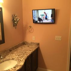 Bathroom remodel with a touch of technology. www.ja-audio.net #jaaudiorva #quality #clarity #craftsmanship #rva#audiovisual #nomess #nowires #audio #video #media #technology #smarttv #samsung #construction #rva #virginia #professional #service #skill #talent #entrepreneur #smallbusiness #business