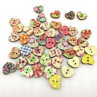 100Y45356  17mm heart wooden button Random Color 100 pieces, DIY handmade materials, wedding gift wrap