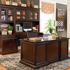 home office idea-  i like the gray tangerine color combo