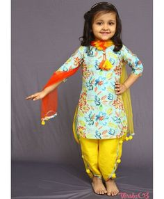 new designer sky blue cute partywear salwar suit for baby girls (1-12 years Girl)