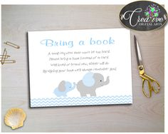 Elephant Baby Shower Boy BRING A BOOK insert cards printable with chevron blue and gray elephant theme, jpg pdf, instant download - ebl02 #babyshowergames #babyshowerdecorations