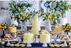[New] The 10 Best Recipe Ideas Today (with Pictures) - What a gorgeous lemon party display from . I love those blue and white vases. Blue and yellow together are so classic! Lemon Party, Bridal Shower Desserts, Bridal Showers, Festa Party, Puffy Slime Recipe, Blue Party, Lemon Desserts, For Love And Lemons, Event Decor