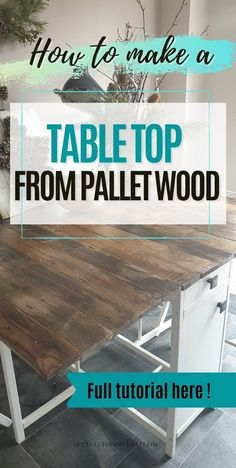 Do you want to know how to make a table top from pallet wood? Follow these steps for sanding, staining, and filling out holes with epoxy resin. Plus extra tips on painting furniture using chalk paint. in order to help you turn old and ugly into something fabulous! Click through for more details. Wood Pallet Furniture, Diy Furniture Plans, Pallet Wood, Wood Pallets, Easy Wood Projects, Woodworking Projects Diy, Pallet Projects, Diy Table Top, Make A Table