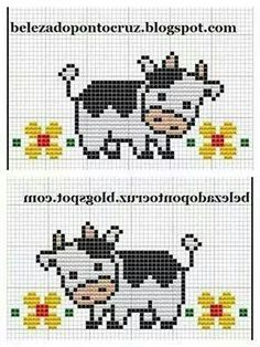 Ideas embroidery quotes baby for 2019 Cross Stitch Cow, Cross Stitch Borders, Cross Stitch Animals, Cross Stitch Designs, Cross Stitching, Cross Stitch Patterns, Loom Beading, Beading Patterns, Embroidery Patterns