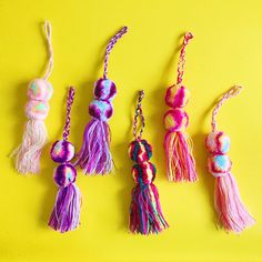 These mexican pom poms are perfect if you want to add a beautiful touch to your bags, purses, backpacks, or they can be used as ornaments or just to hang on as decoration. These pom pom bag charms are made of wool and cotton Each pom pom measures: 9 inches lenght approx (including pom