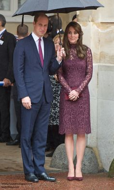 Kate's pumps are the Gianvito Rossi 'Gianvito Pumps. The Bordeaux suede pumps feature a pointed toe, a brand embossed insole and a high stiletto heel. They retail for $580 at Farfetch.