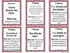 American Revolution review pack - I Have, Who Has, cause/effect matching, and Who Am I games - 4th, 5th, 6th grades.  $4.50 on TPT  Check out www.NYHomeschool.com as well. Social Studies For Kids, 6th Grade Social Studies, Social Studies Worksheets, Teaching Social Studies, Teaching Resources, 5th Grade Ela, Teaching 5th Grade, Student Teaching, Fourth Grade