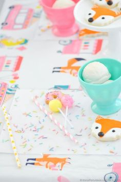 Ice Cream + Fox Party with DIY Sprinkles Place Mats! By Kara Allen | Kara's Party Ideas for Scotch Brand-16