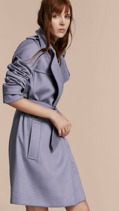 Cashmere Wrap Trench Coat Dusty Blue | Burberry