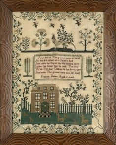 Vintage Embroidery Sampler ABC embroidered