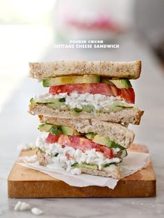 cottage cheese sandwich ...  toast bread.  butter bread.  top slice of bread with cucumber, cottage cheese, tomato and avocado. season with salt and pepper.  top with final slice of bread.