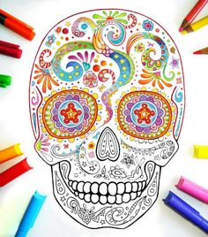 Sugar Skull Coloring Pages - 21 Printable PDF Blank Sugar Skull Designs to Print and Color - These would be a fun way to pass time when you are stuck in bed!