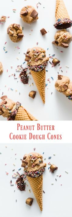 Skip the ice cream and just fill your cones or cups with edible cookie dough! Peanut butter cookie dough with lots of mixins is so good and my recipe is safe to eat! #bringJOYhome #peanutbutter #recipe