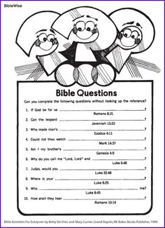 Answer the Bible Questions - Kids Korner - Biblewise