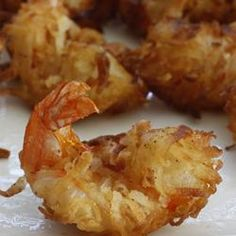Coconut Shrimp I Allrecipes.com. These crispy shrimp are rolled in a coconut beer batter before frying. For dipping sauce, I use orange marmalade, mustard and horseradish mixed to taste!