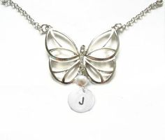 Butterfly Custom Metal Hand Stamped Initial Necklace by JSCJewelry, $20.00