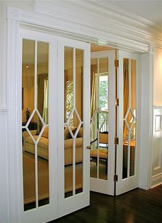 What a gorgeous pair of doors! These are wonderful as french doors between two rooms or you could add mirrors to closet doors and make this design with trim pieces. House Design, Home Projects, Home, New Homes, Door Makeover, House Interior, Home Diy, Home Interior Design, Interior Design