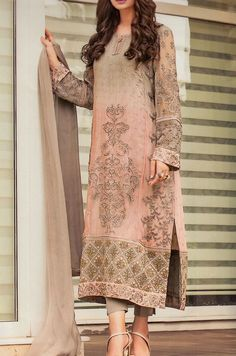 Buy Grey/Peach Embroidered Chiffon Dress by Baroque Buy Grey/Peach Embroidered Chiffon Dress by Baroque 2015 with world wide delivery. Pakistan Fashion, India Fashion, Ethnic Fashion, Asian Fashion, Latest Fashion, Pakistani Couture, Pakistani Outfits, Indian Outfits, Desi Clothes