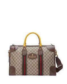 8b4f06f1a01d Soft GG Supreme Duffel Bag with Web, Beige/Ebony Gucci Men, Gucci Gucci