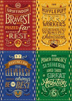 Harry Potter Lettering series in collaboration with Risa Rodil, featuring the Hogwarts Houses from Harry Potter. Harry Potter World, Harry Potter Quiz, Estilo Harry Potter, Images Harry Potter, Harry Potter Fiesta, Classe Harry Potter, Arte Do Harry Potter, Harry Potter Drawings, Harry Potter Room