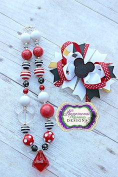 Mickey Mouse Chunky Bead Necklace and Bow Set. $25.00, via Etsy.