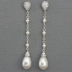 Pendientes largos perlas pendientes de novia por LizardiBridal