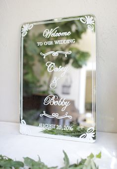 Frame-less vintage mirror custom painted with a beautiful classic border.  Wedding welcome sign.  hand painted signage.